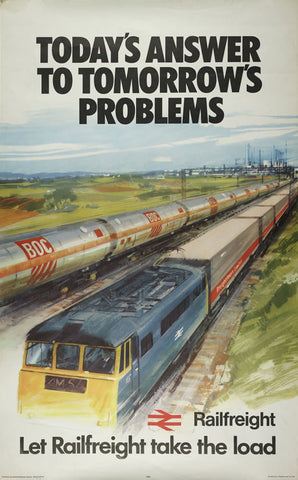 "Let Railfreight take the Load. British Railway Poster 1973 24"" x 32"" Matte Mounted Print"