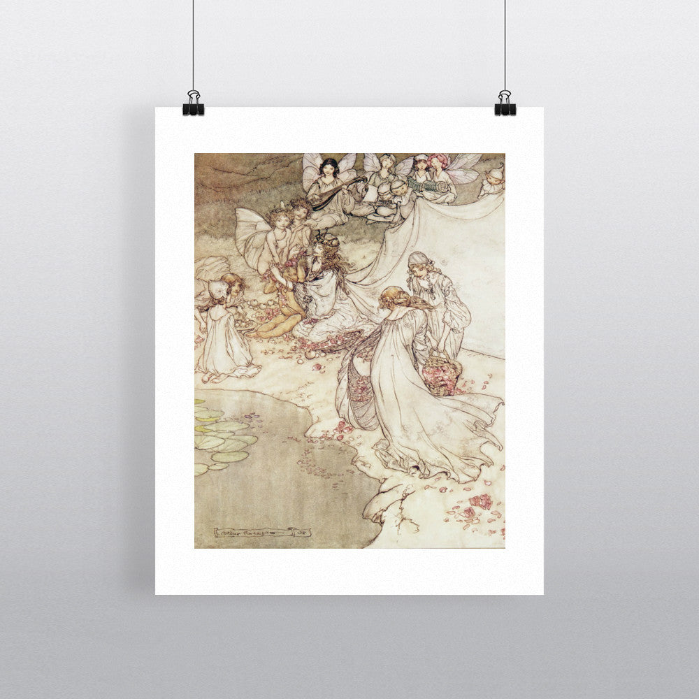 Illustration for a Fairy Tale, Fairy Queen Covering a Child with Blossom by Arthur Rackham 20cm x 20cm Mini Mounted Print