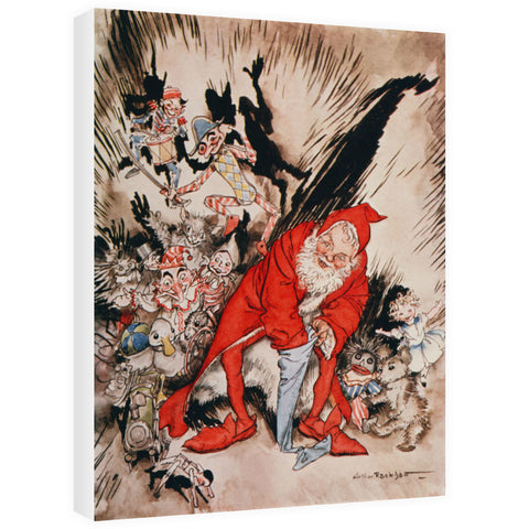 Christmas illustrations, from 'The Night Before Christmas' by Clement C. Moore, 1931 99;Father Christmas filling the stockings; A Visit from St. Nicholas; poem; by Arthur Rackham 20cm x 20cm Mini Mounted Print