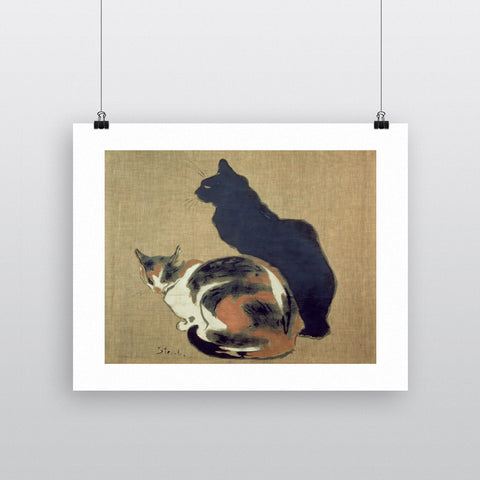 Two Cats, 1894 (oil on canvas) by Theophile Alexandre Steinlen 20cm x 20cm Mini Mounted Print