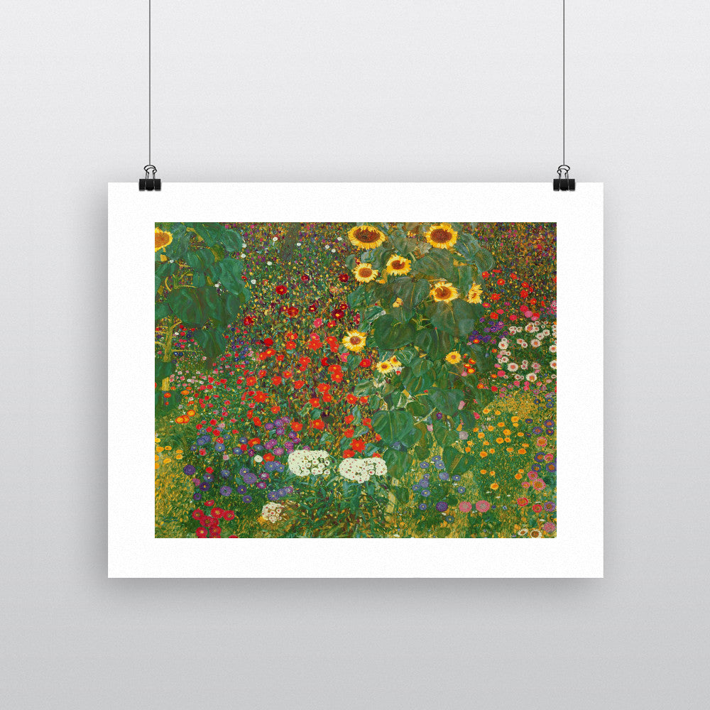 Farm Garden with Flowers (Brewery Garden at Litzlberg on the Attersee) c.1906 by Gustav Klimt 20cm x 20cm Mini Mounted Print
