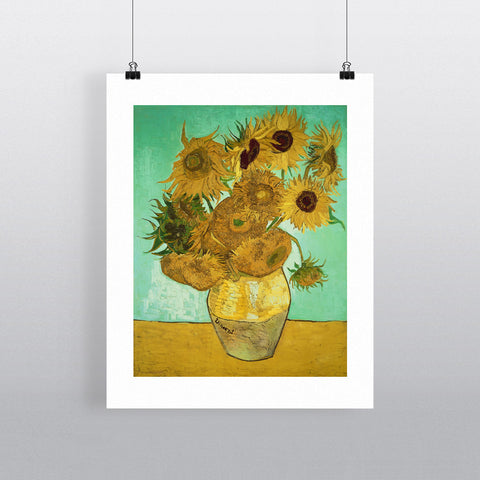 Sunflowers, 1888 (oil on canvas) by Vincent van Gogh 20cm x 20cm Mini Mounted Print