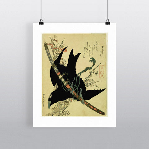 The Little Raven with the Minamoto clan sword, c.1823 (colour woodcut) by Katsushika Hokusai 20cm x 20cm Mini Mounted Print