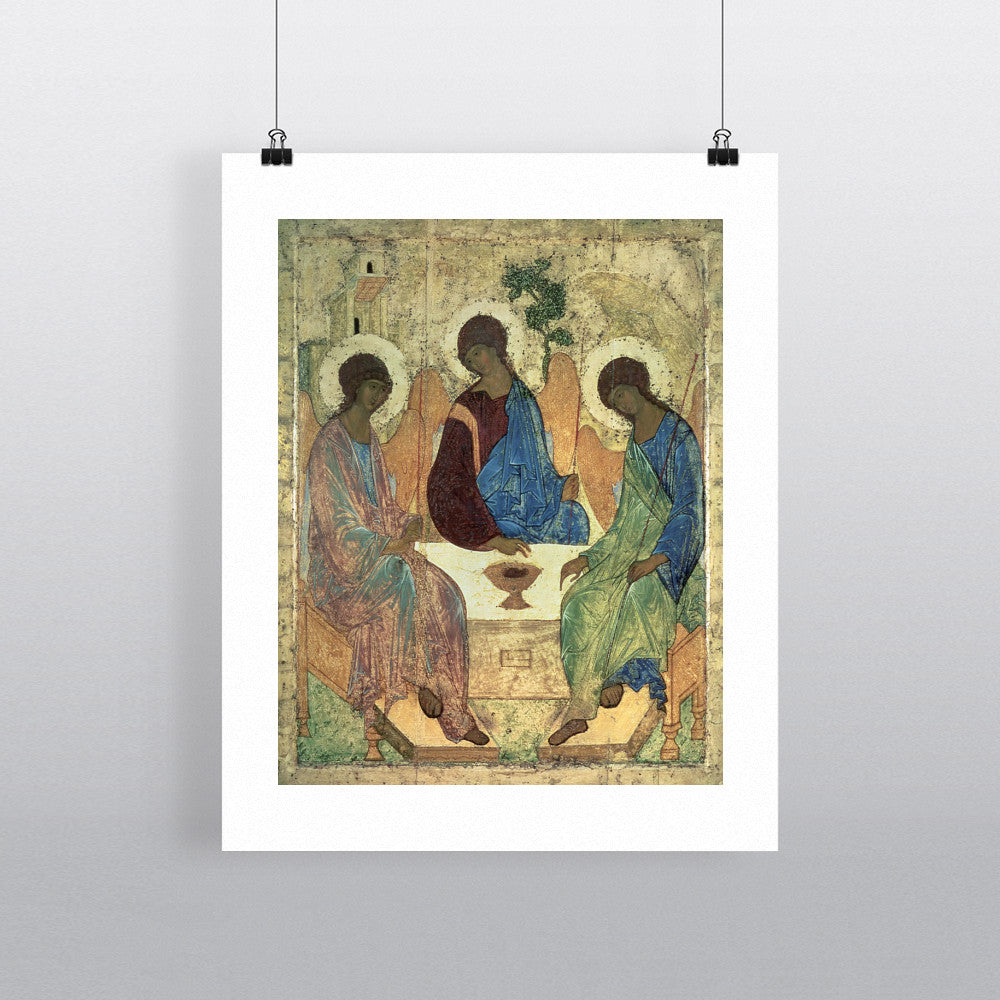 The Holy Trinity, 1420s (tempera on panel) (for copy see 40956) by Andrei Rublev 20cm x 20cm Mini Mounted Print