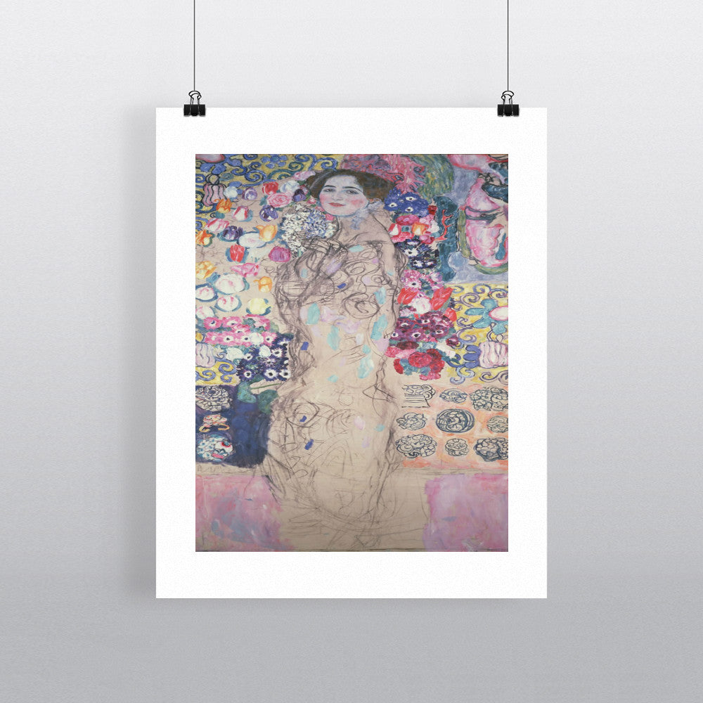 Portrait of Maria Munk (unfinished 1917-18) (oil on canvas) by Gustav Klimt 20cm x 20cm Mini Mounted Print