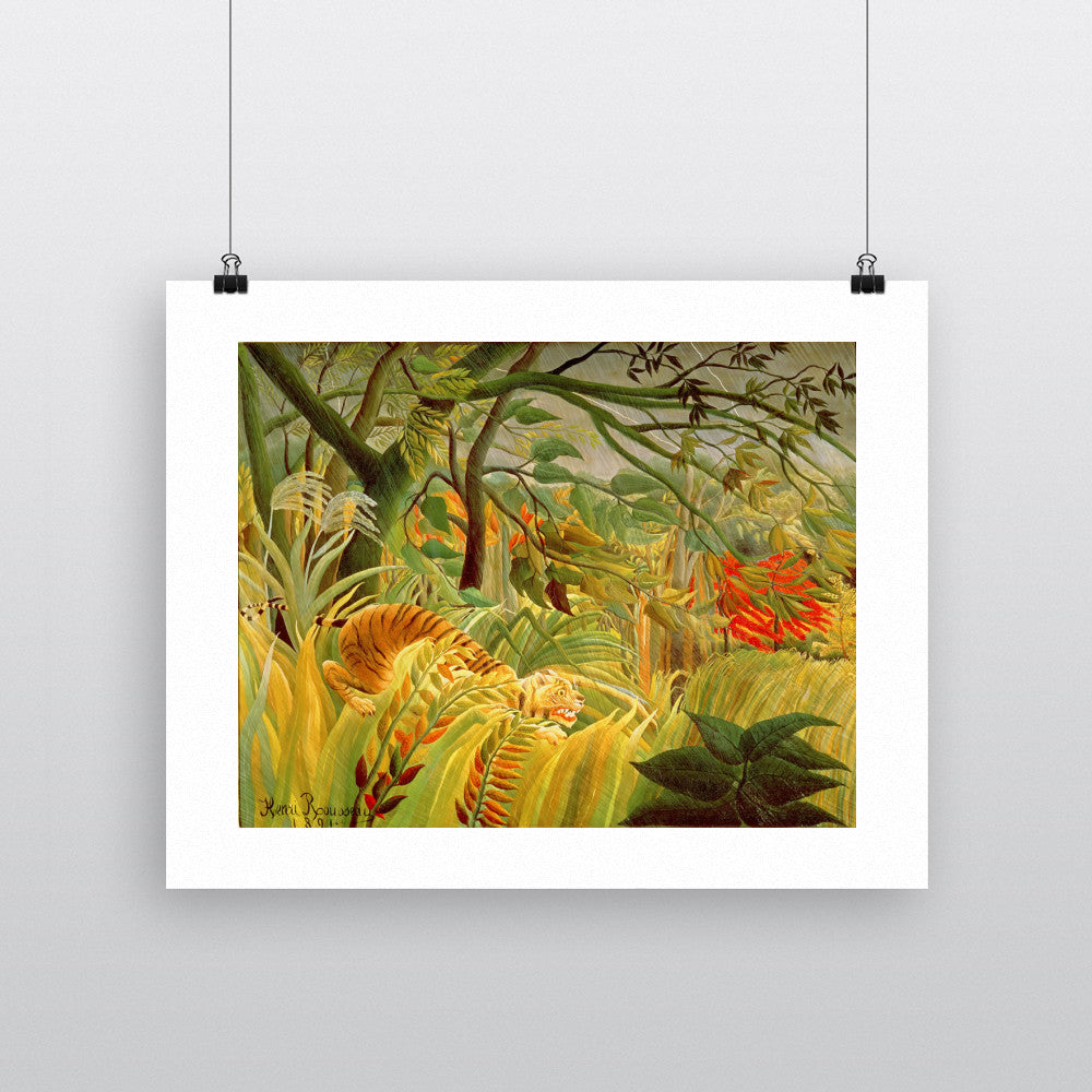 Tiger in a Tropical Storm (Surprised!) 1891 (oil on canvas) by Henri J.F. Rousseau 20cm x 20cm Mini Mounted Print