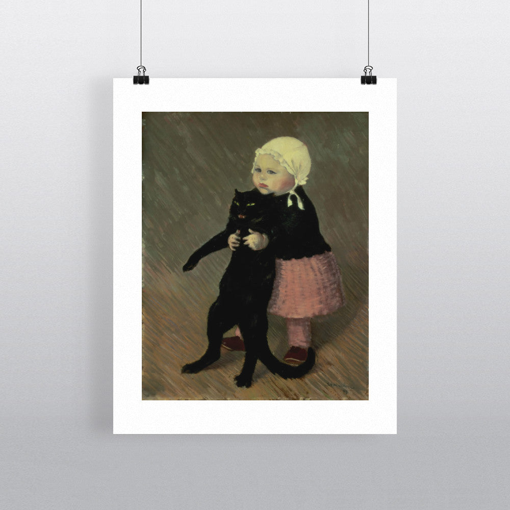 A Small Girl with a Cat, 1889 by Theophile Alexandre Steinlen 20cm x 20cm Mini Mounted Print