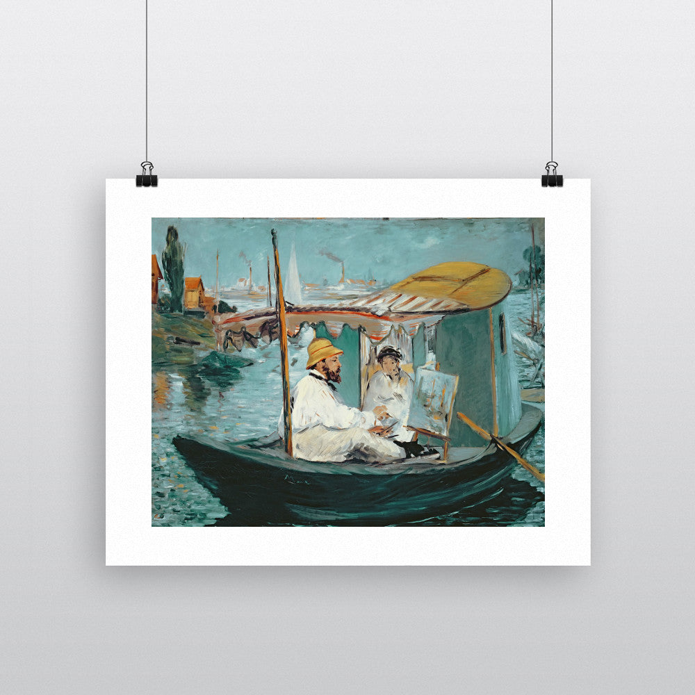 Monet in his Floating Studio, 1874 (oil on canvas) by Edouard Manet 20cm x 20cm Mini Mounted Print
