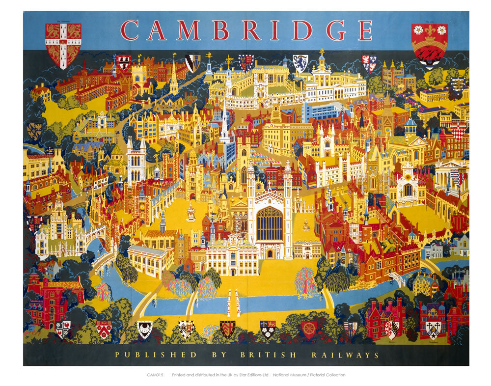 "Cambridge Published by British Railways 24"" x 32"" Matte Mounted Print"