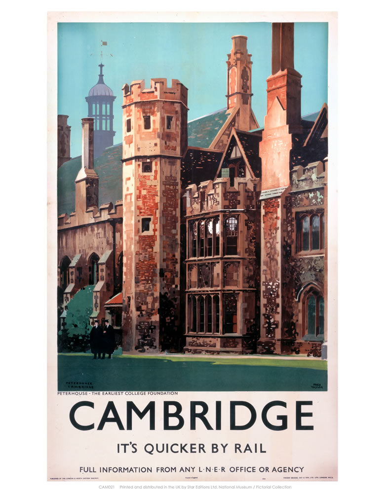 "Cambridge it's Quicker by Rail - Peterhouse 24"" x 32"" Matte Mounted Print"