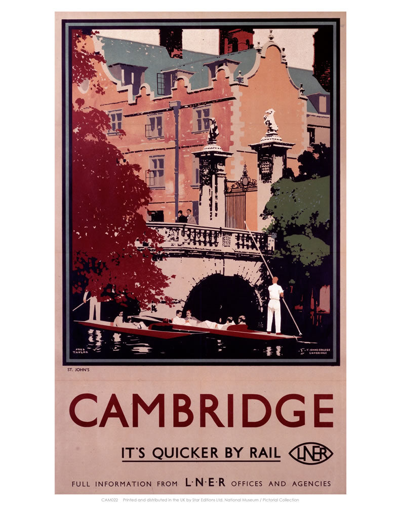 "Cambridge it's Quicker by Rail - Punting 24"" x 32"" Matte Mounted Print"