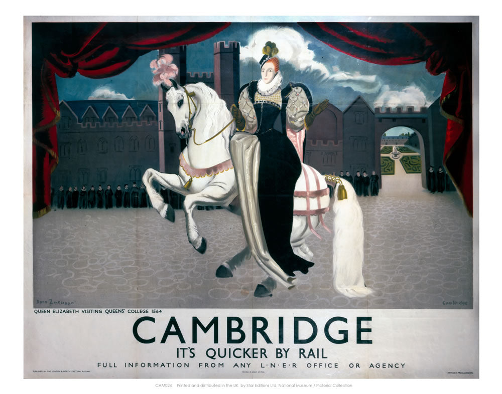 "Queen Elizabeth on Horse Visiting Cambridge 24"" x 32"" Matte Mounted Print"