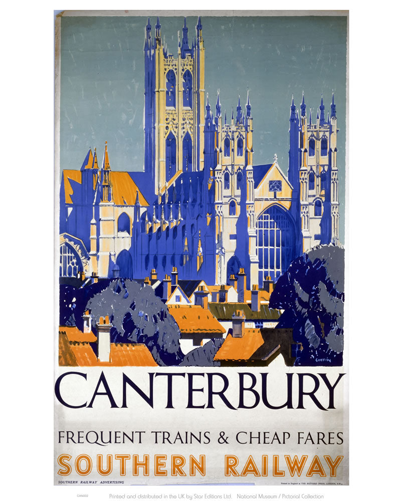 "Canterbury Frequent Trains and Cheap Fares 24"" x 32"" Matte Mounted Print"