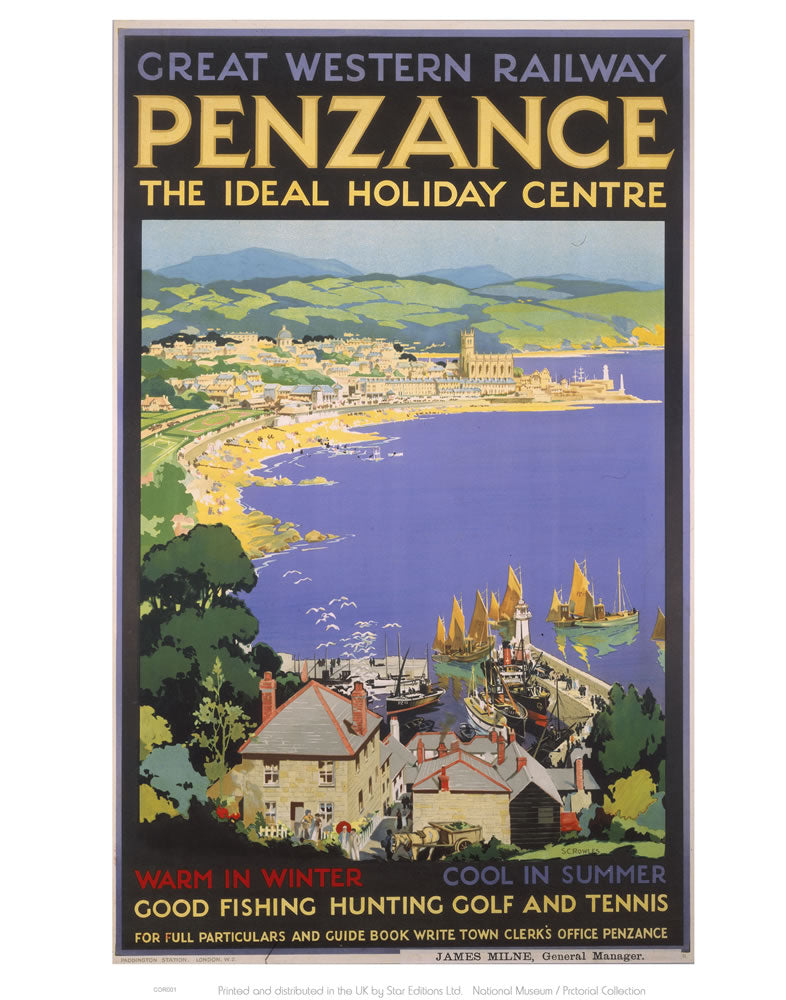 "Penzance The Ideal Holiday Centre 24"" x 32"" Matte Mounted Print"