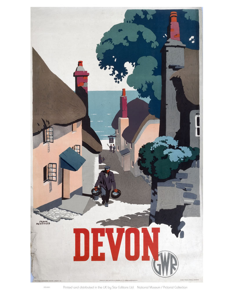 "Devon GWR Old Man Walking Up Street 24"" x 32"" Matte Mounted Print"