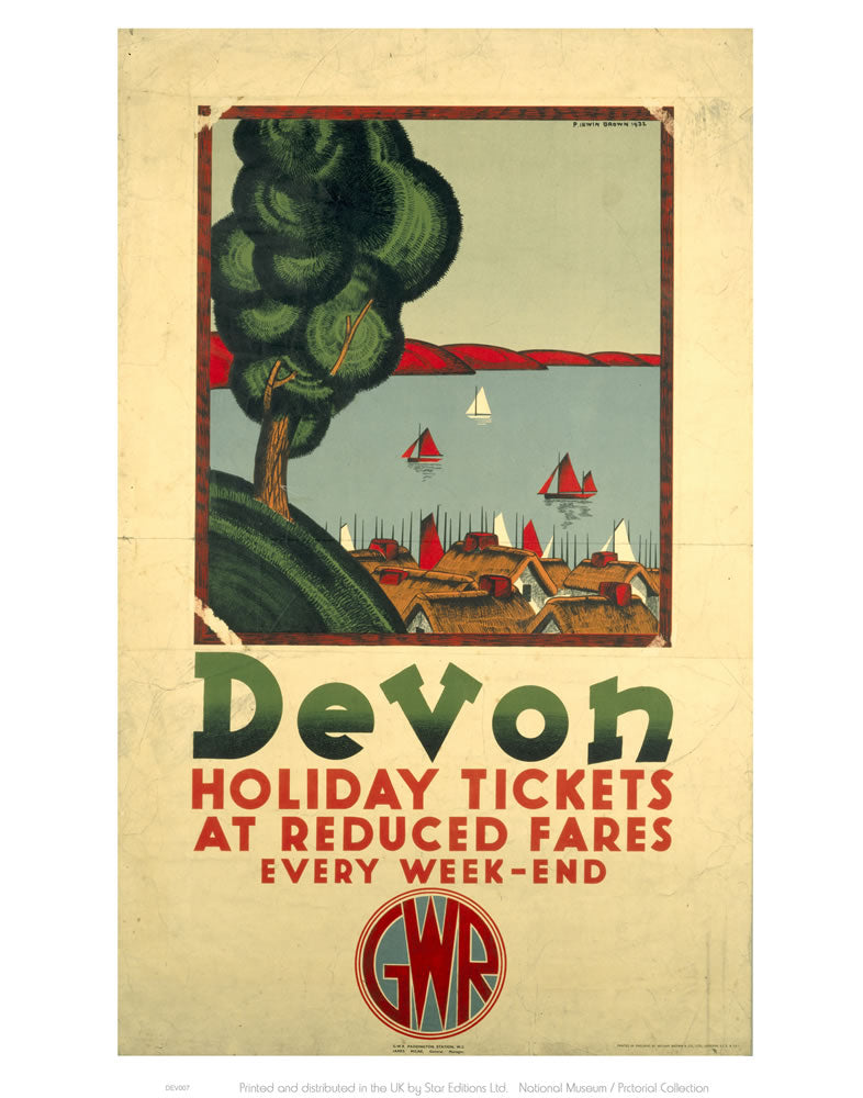 "Devon Holiday Tickets at Reduced Fares 24"" x 32"" Matte Mounted Print"
