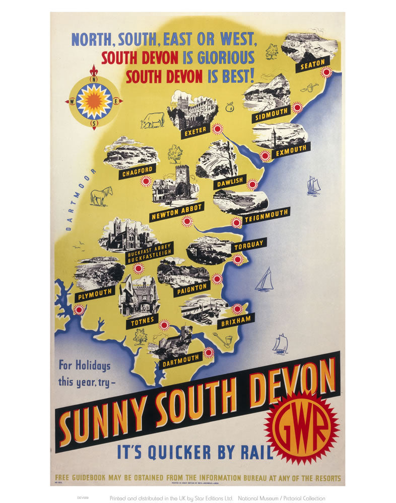 "Sunny South Devon 24"" x 32"" Matte Mounted Print"