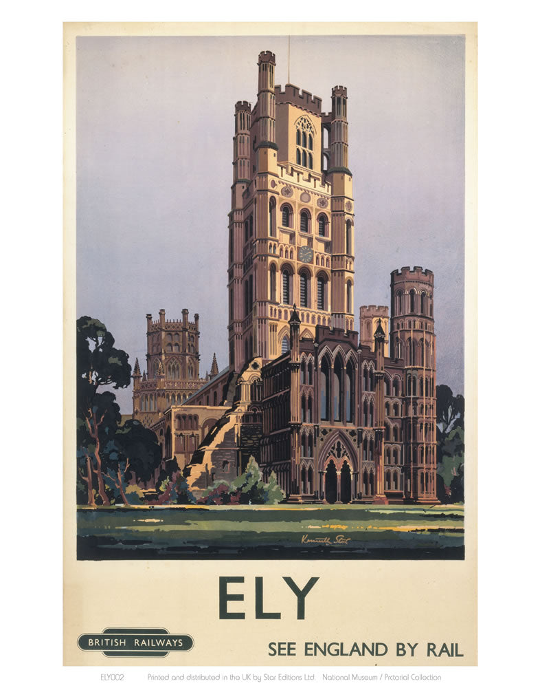"Ely See England by Rail 24"" x 32"" Matte Mounted Print"