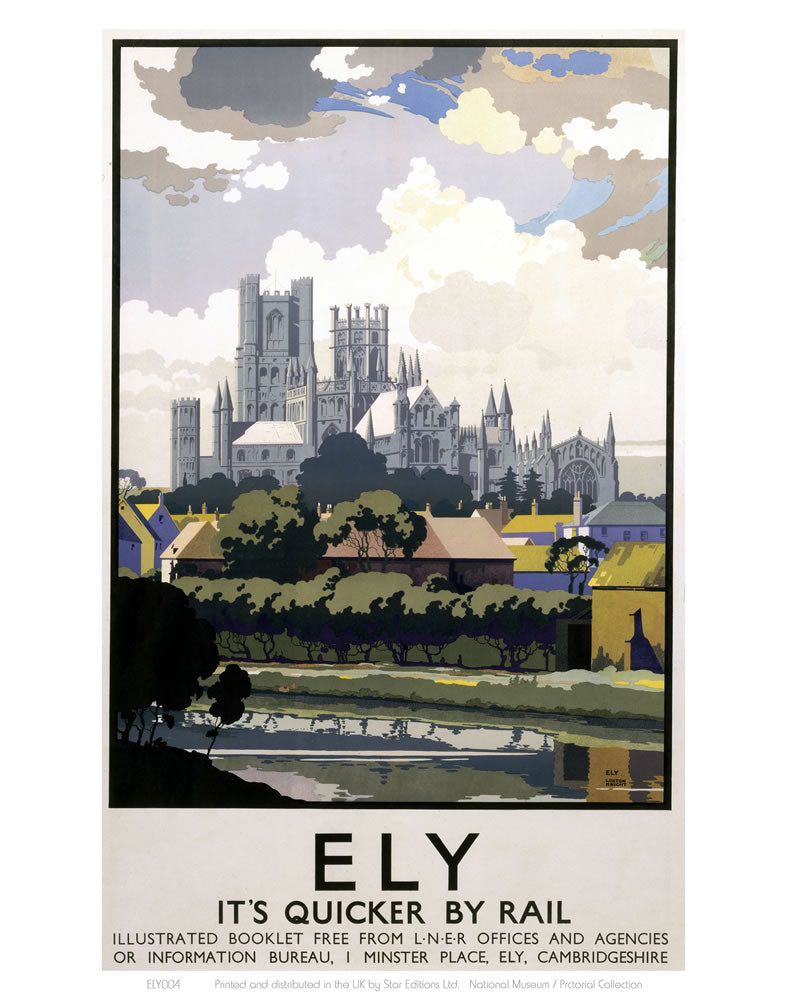 "Ely View of Cathedral across River 24"" x 32"" Matte Mounted Print"