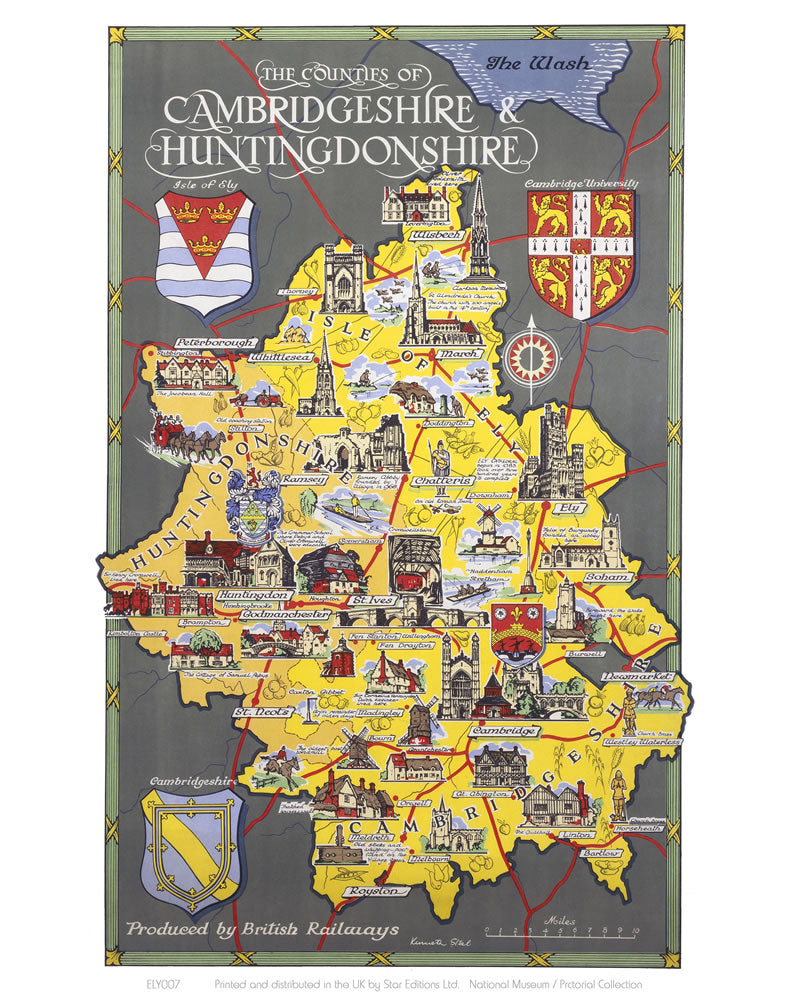 "Cambridgeshire and Huntingdonshire 24"" x 32"" Matte Mounted Print"