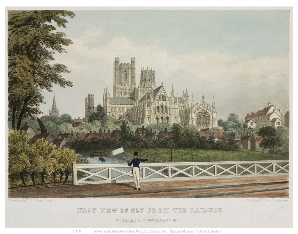 "East View of Ely from the Railway 24"" x 32"" Matte Mounted Print"