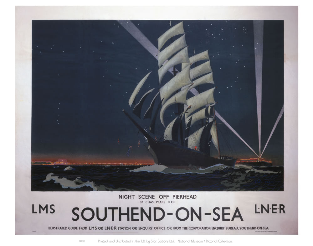 "Southend On Sea Night scene off Pierhead 24"" x 32"" Matte Mounted Print"