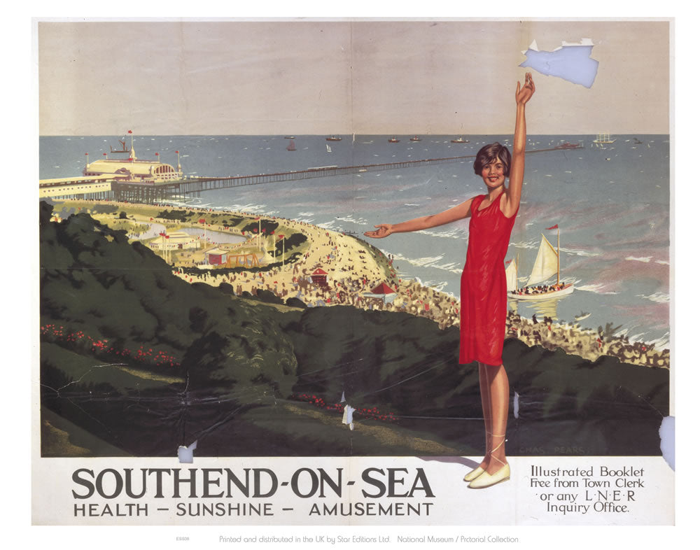 "Southend on Sea Health Sunshine Amusement 24"" x 32"" Matte Mounted Print"