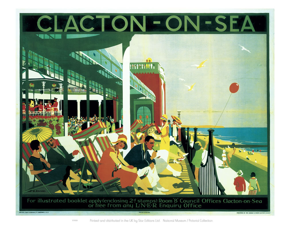 "Clacton On Sea Seafront 24"" x 32"" Matte Mounted Print"
