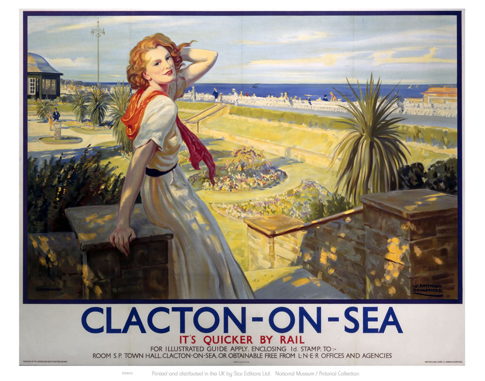 "Clacton Girl with Red Hair White Dress 24"" x 32"" Matte Mounted Print"