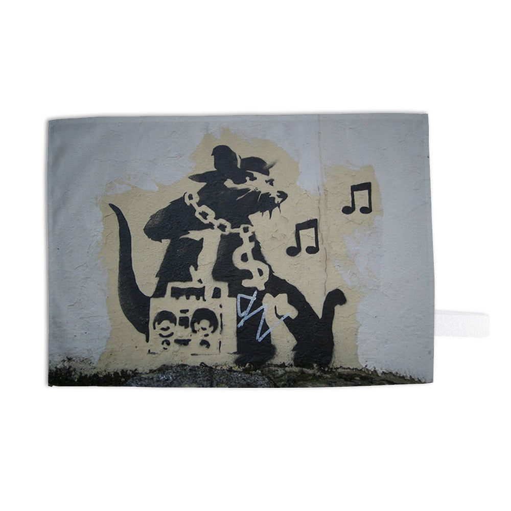 Ghetto Blaster Rat Tea Towel