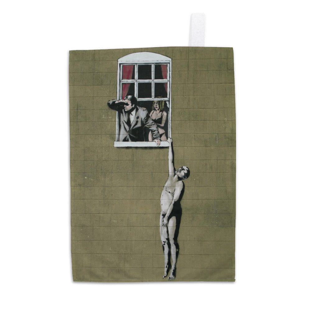 Man Hanging out of Window Tea Towel