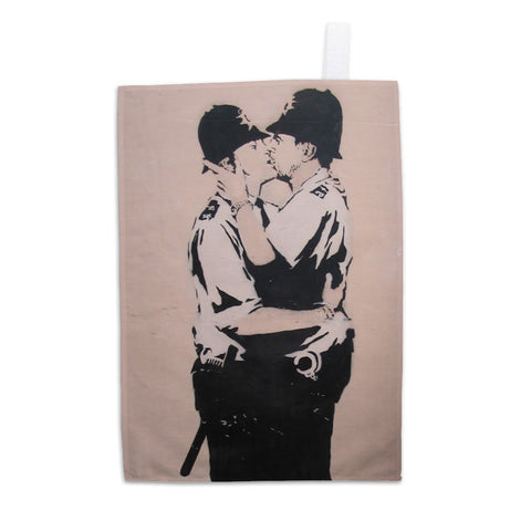 Kissing policemen Tea Towel