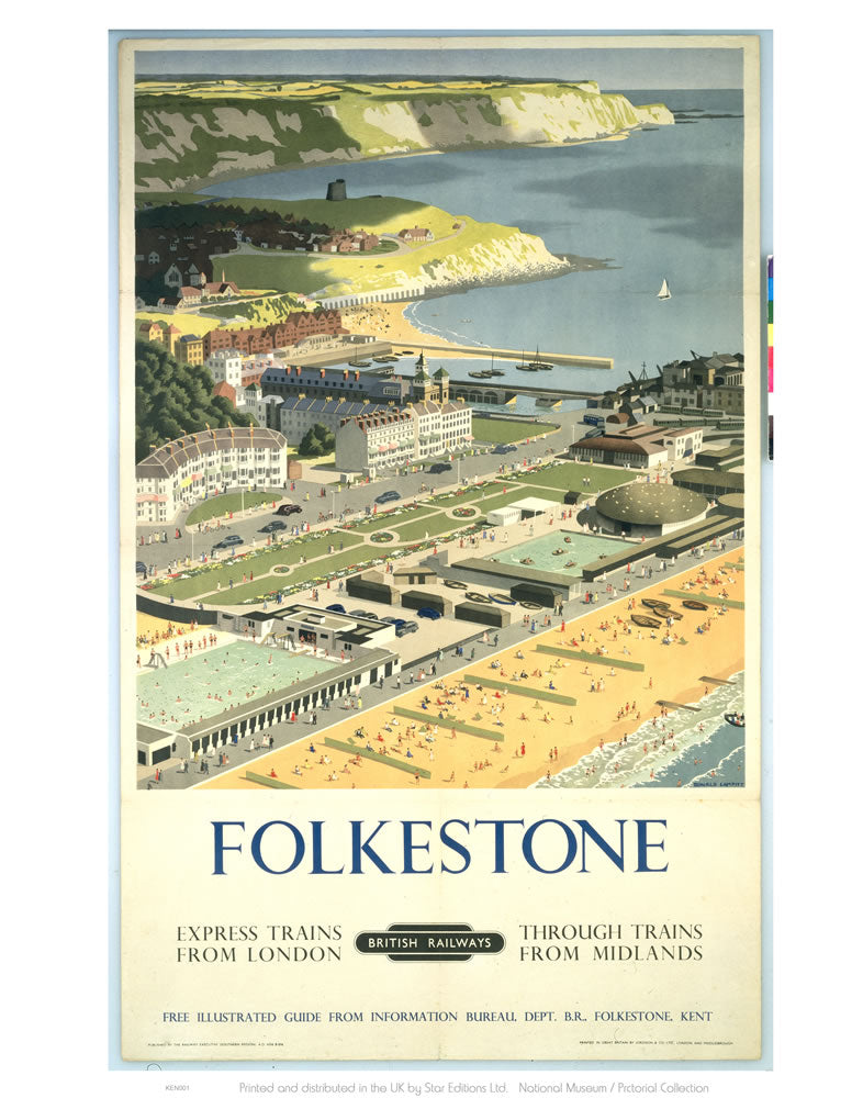 "Folkestone View from the Air 24"" x 32"" Matte Mounted Print"