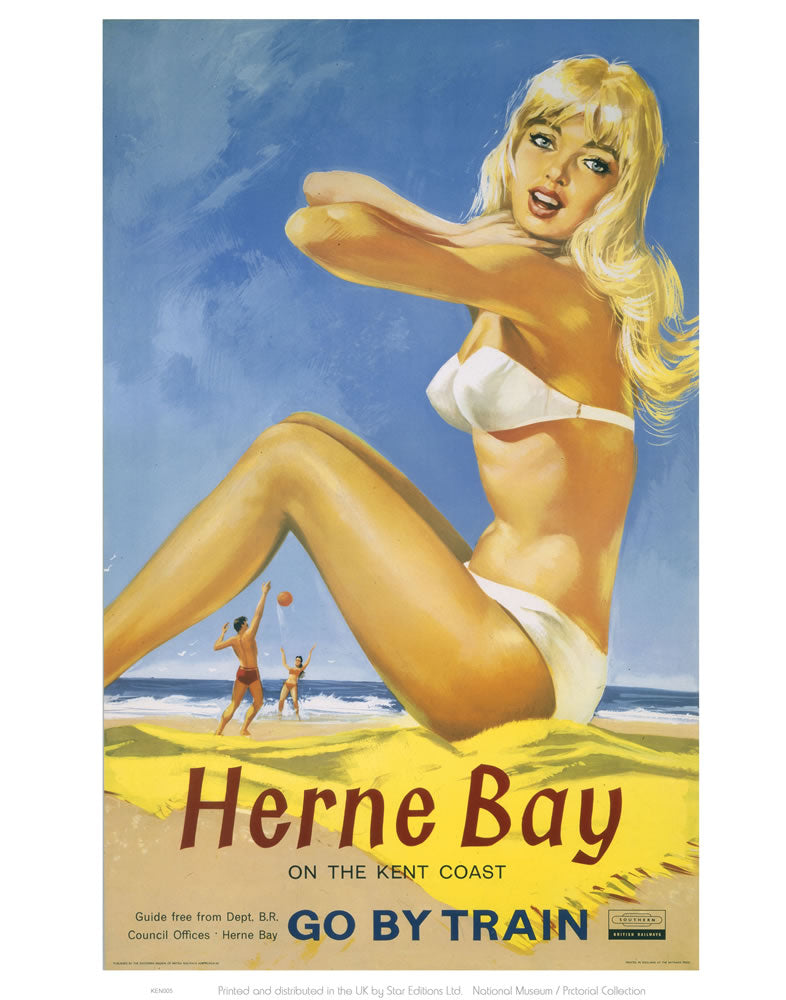 "Herne Bay Girl in White Bikini 24"" x 32"" Matte Mounted Print"
