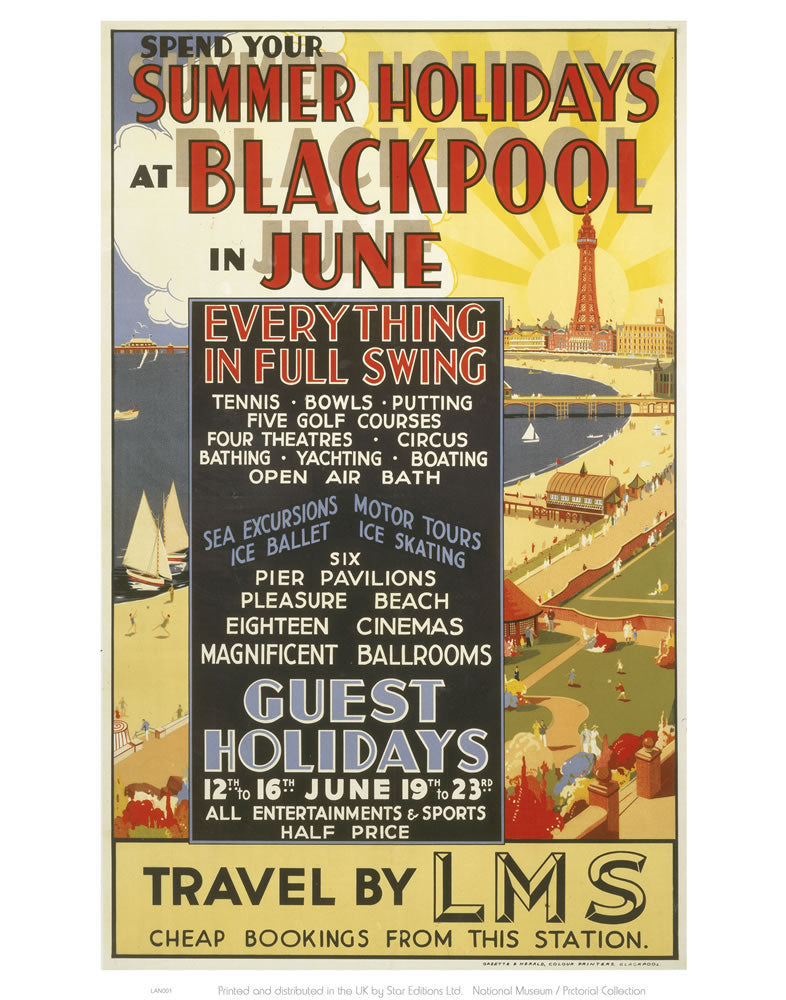 "Blackpool in June 24"" x 32"" Matte Mounted Print"