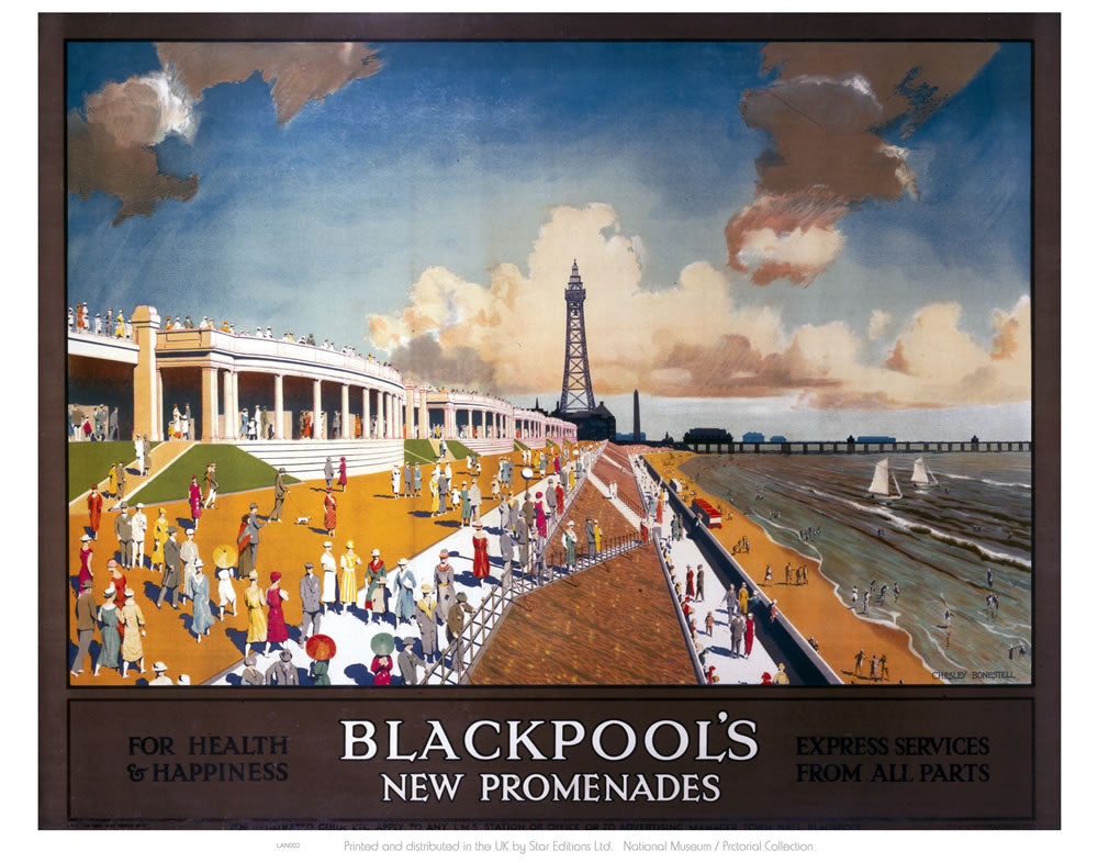 "Blackpool New Promenades 24"" x 32"" Matte Mounted Print"