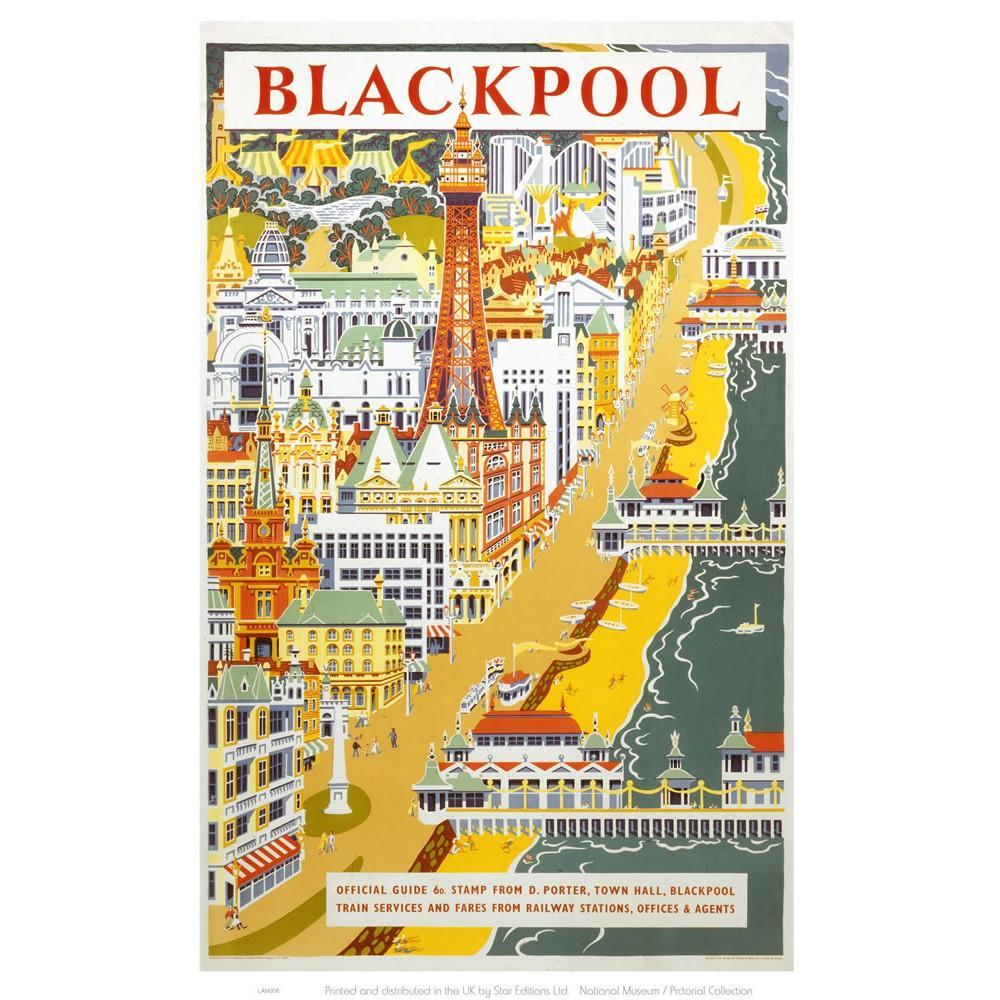 Blackpool from the air 20cm x 20cm Mini Mounted Print