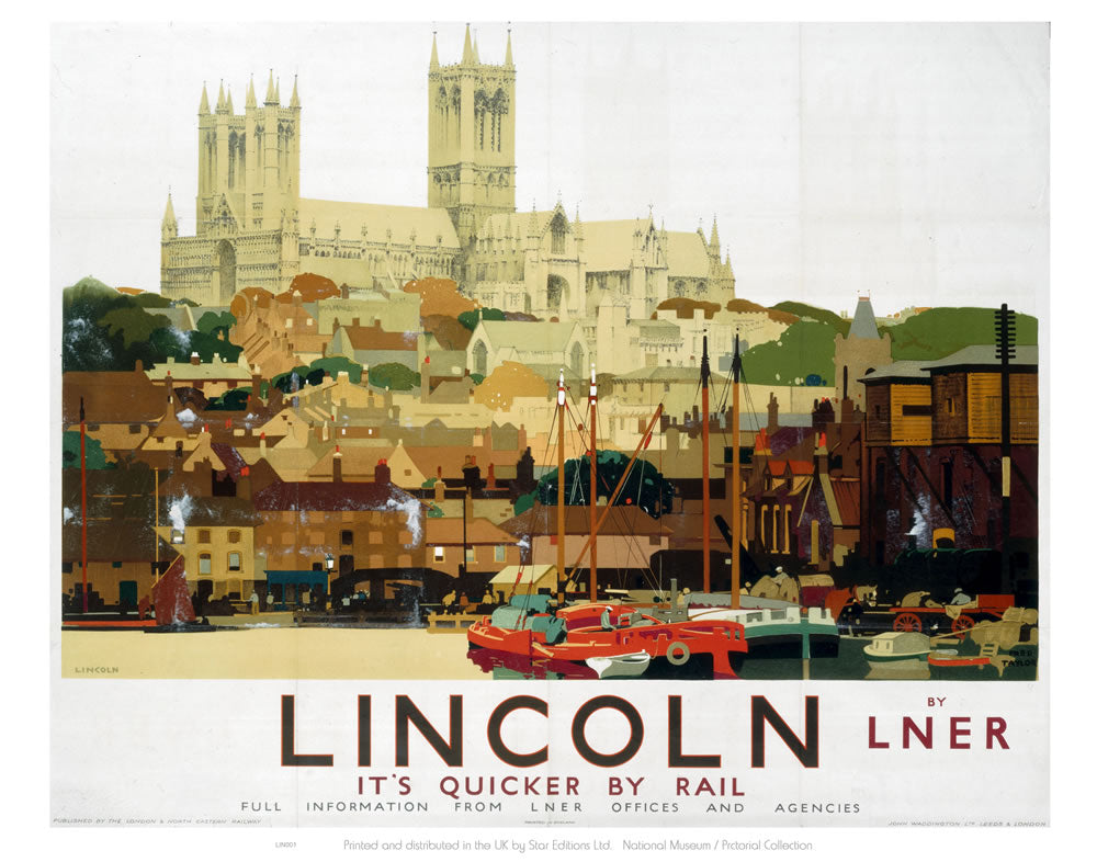 "Lincoln with Boats 24"" x 32"" Matte Mounted Print"