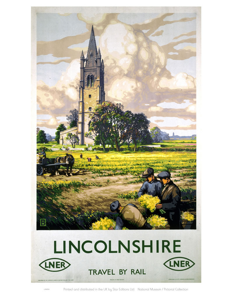 "Lincolnshire Farmers and Church 24"" x 32"" Matte Mounted Print"