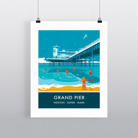 Grand Pier, Weston Super Mare, Somerset 20cm x 20cm Mini Mounted Print
