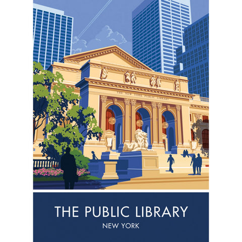The Public Library, New York 20cm x 20cm Mini Mounted Print