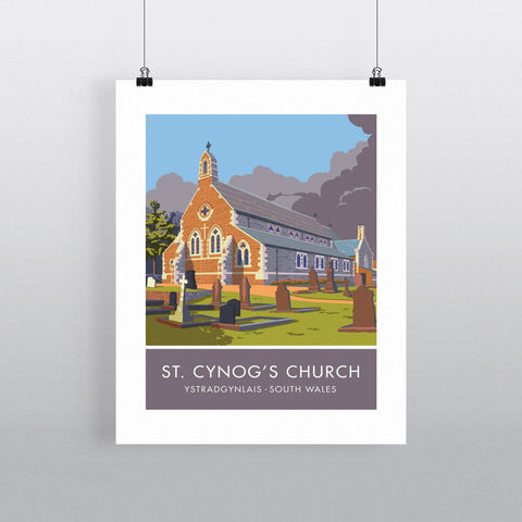 St Cynogs Church, Wales 20cm x 20cm Mini Mounted Print