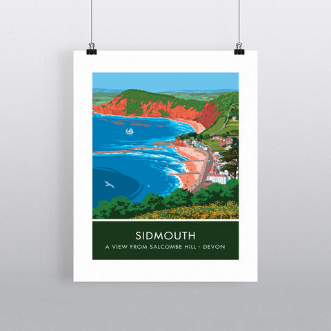 Salcombe Hill, Sidmouth, Devon 20cm x 20cm Mini Mounted Print