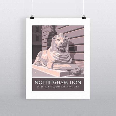The Nottingham Lion, Nottingham 20cm x 20cm Mini Mounted Print