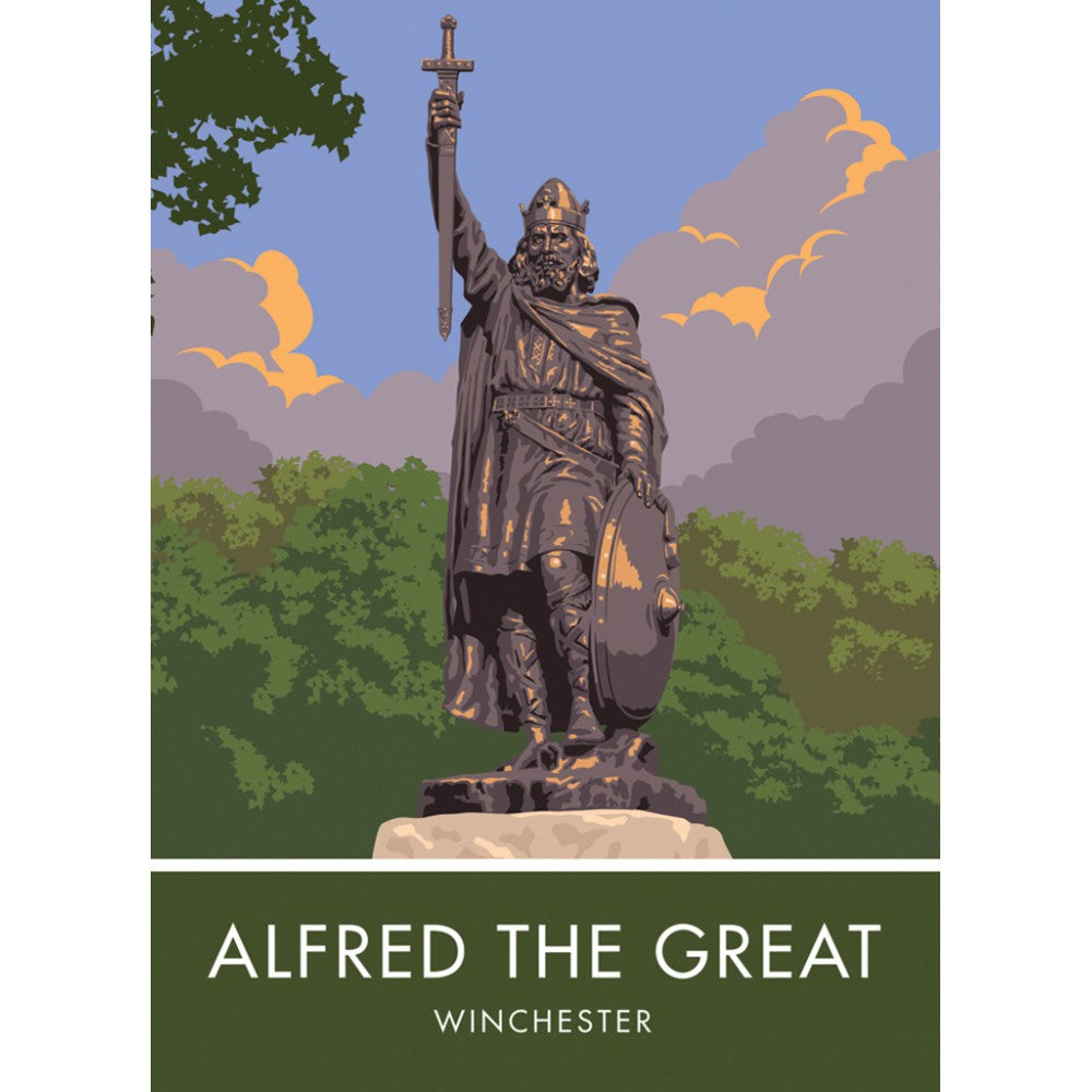 Alfred the Great, Winchester, Hampshire 20cm x 20cm Mini Mounted Print