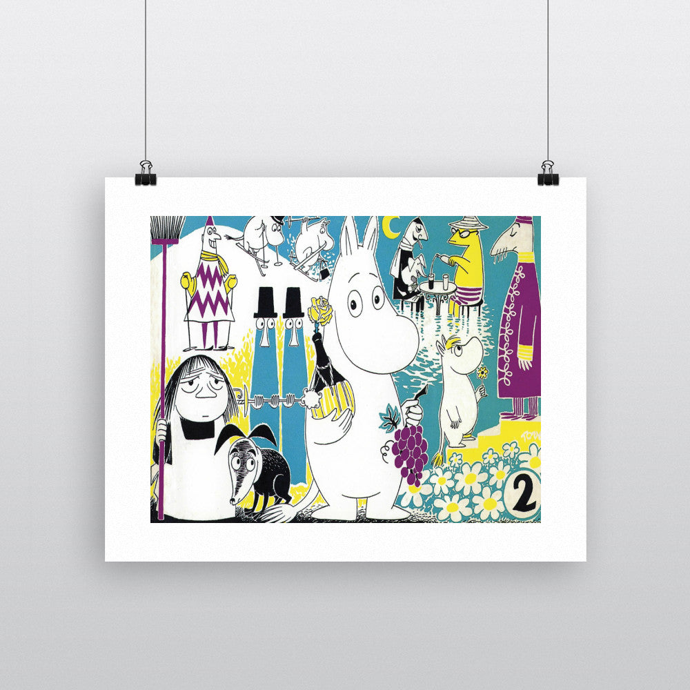 Moomintroll and Friends Blue Background 11x14 Print
