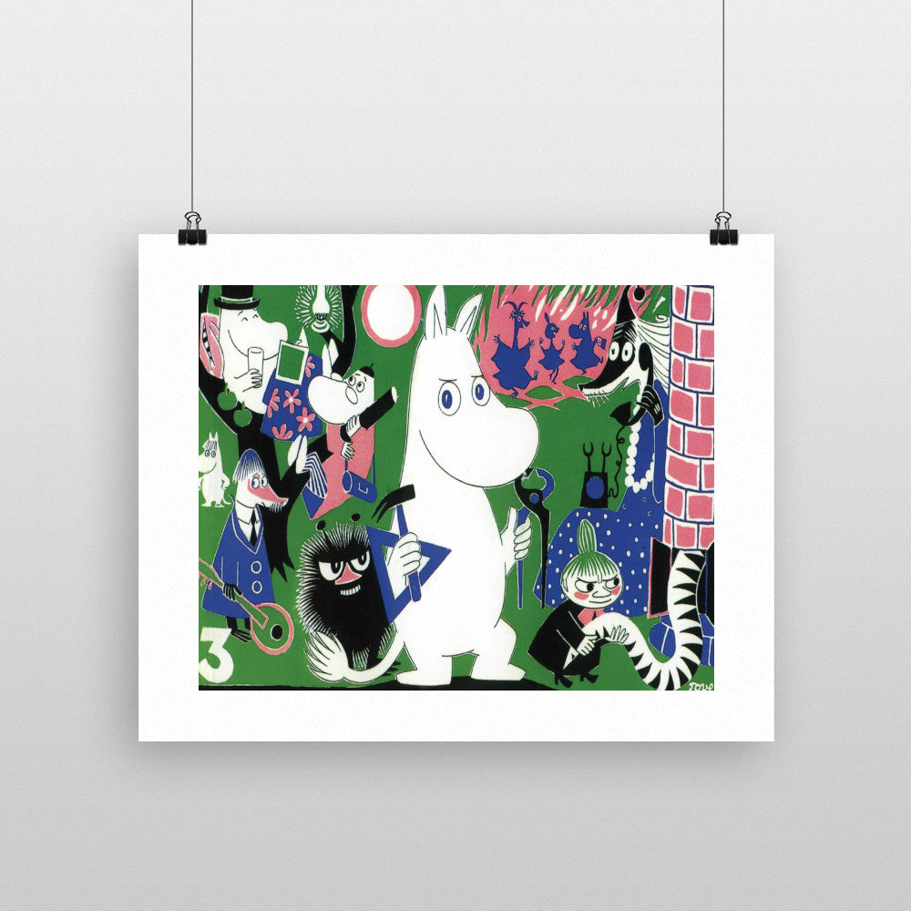 Moomintroll and Friends Green Background 11x14 Print