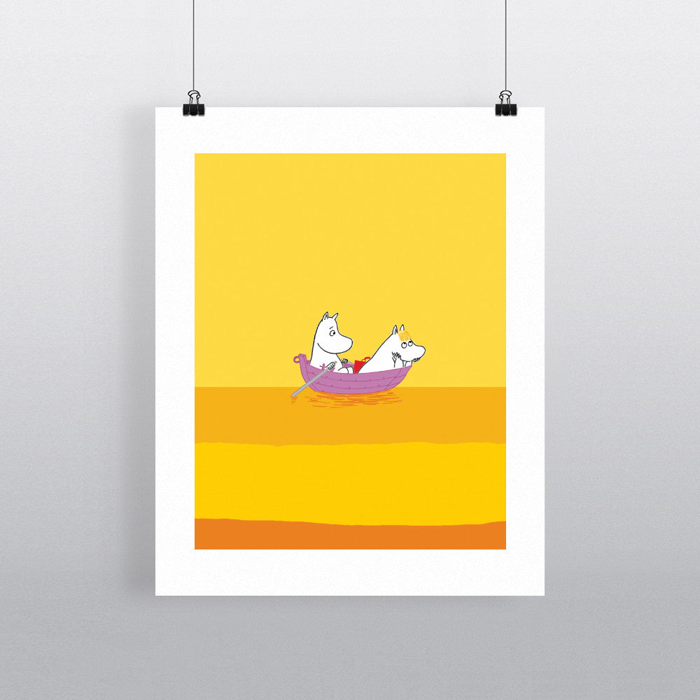 Moomintroll and Snorkmaiden on a Boat 11x14 Print