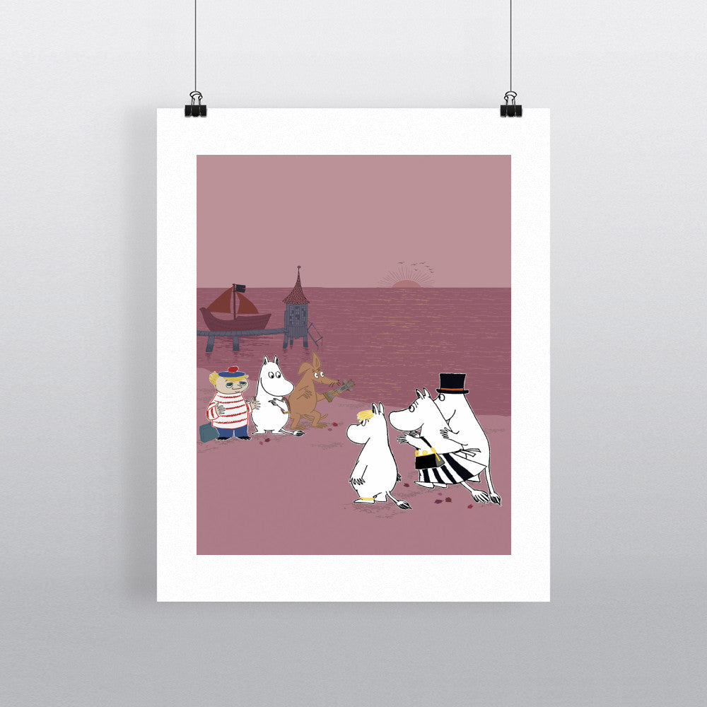 Moomintroll and friends on the beach 11x14 Print