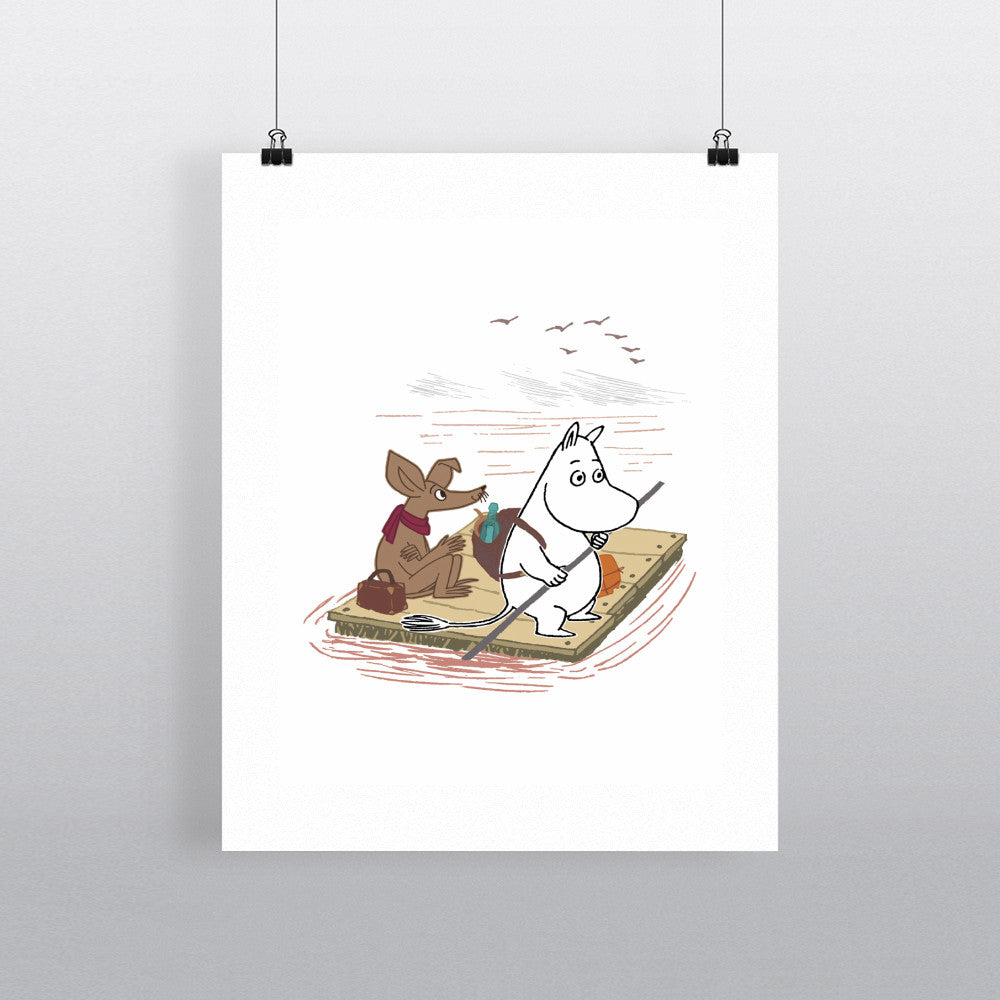 Moomintroll and Sniff on a Raft 11x14 Print